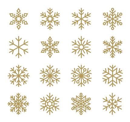 Set of Snowflakes. Line icons set.
