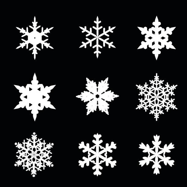 stockillustraties, clipart, cartoons en iconen met set van sneeuwvlokken vector illustratie pictogrammen - sneeuwvlok