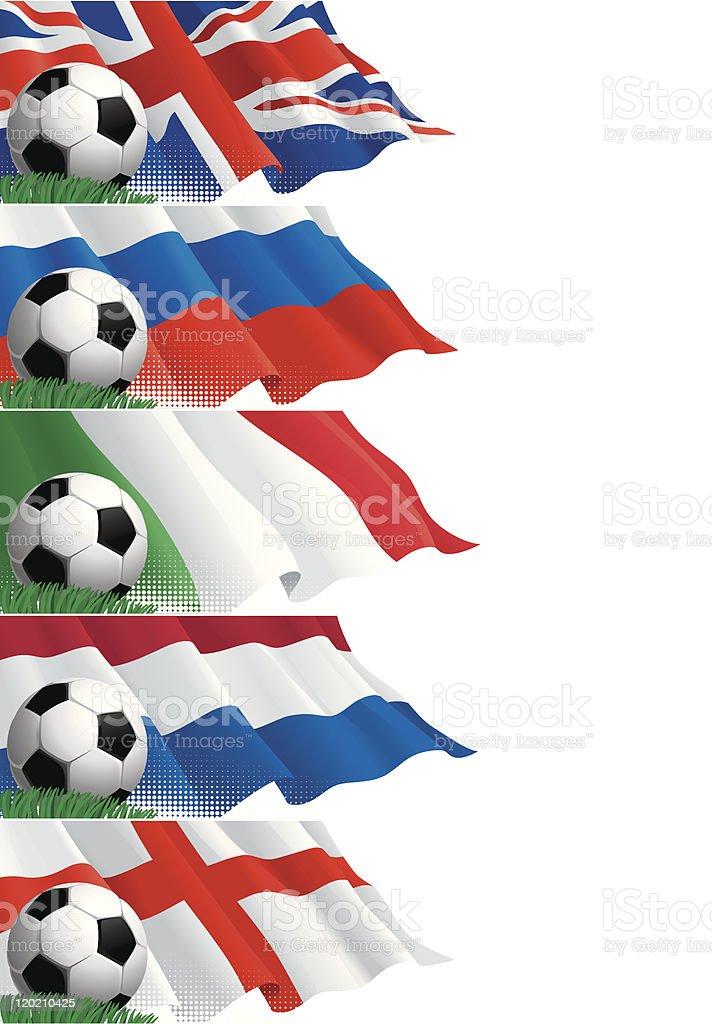 Conjunto de banners (2) de fútbol - ilustración de arte vectorial