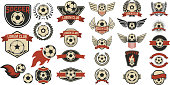 Set of soccer club labels