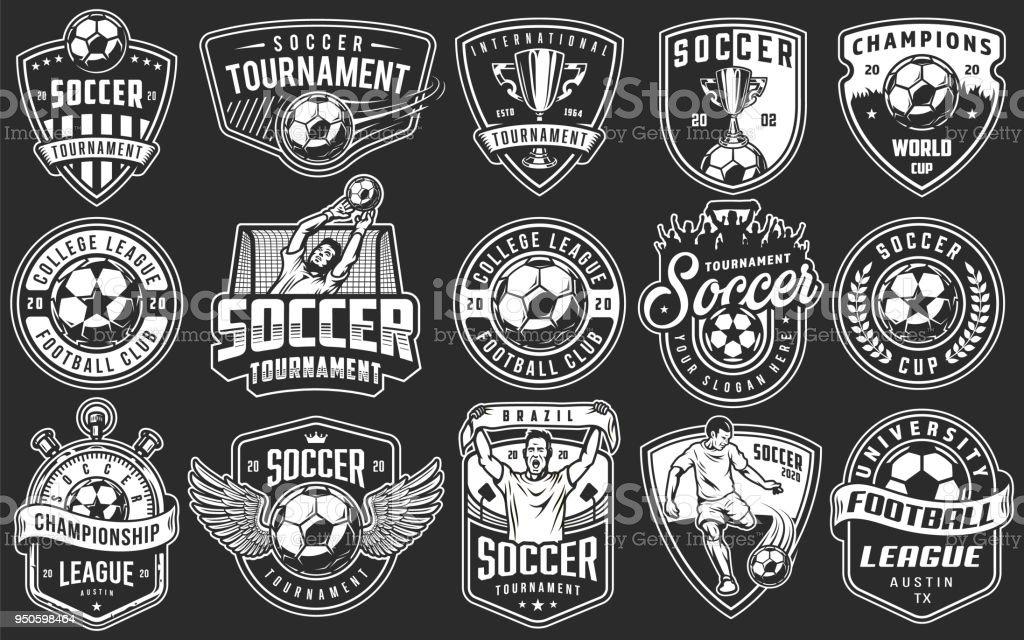 Conjunto de emblemas de futebol vetores de conjunto de emblemas de futebol e mais imagens de camisas royalty-free