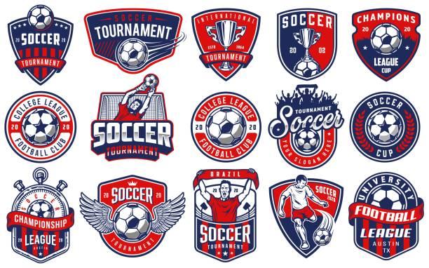 ilustrações de stock, clip art, desenhos animados e ícones de set of soccer emblems - futebol