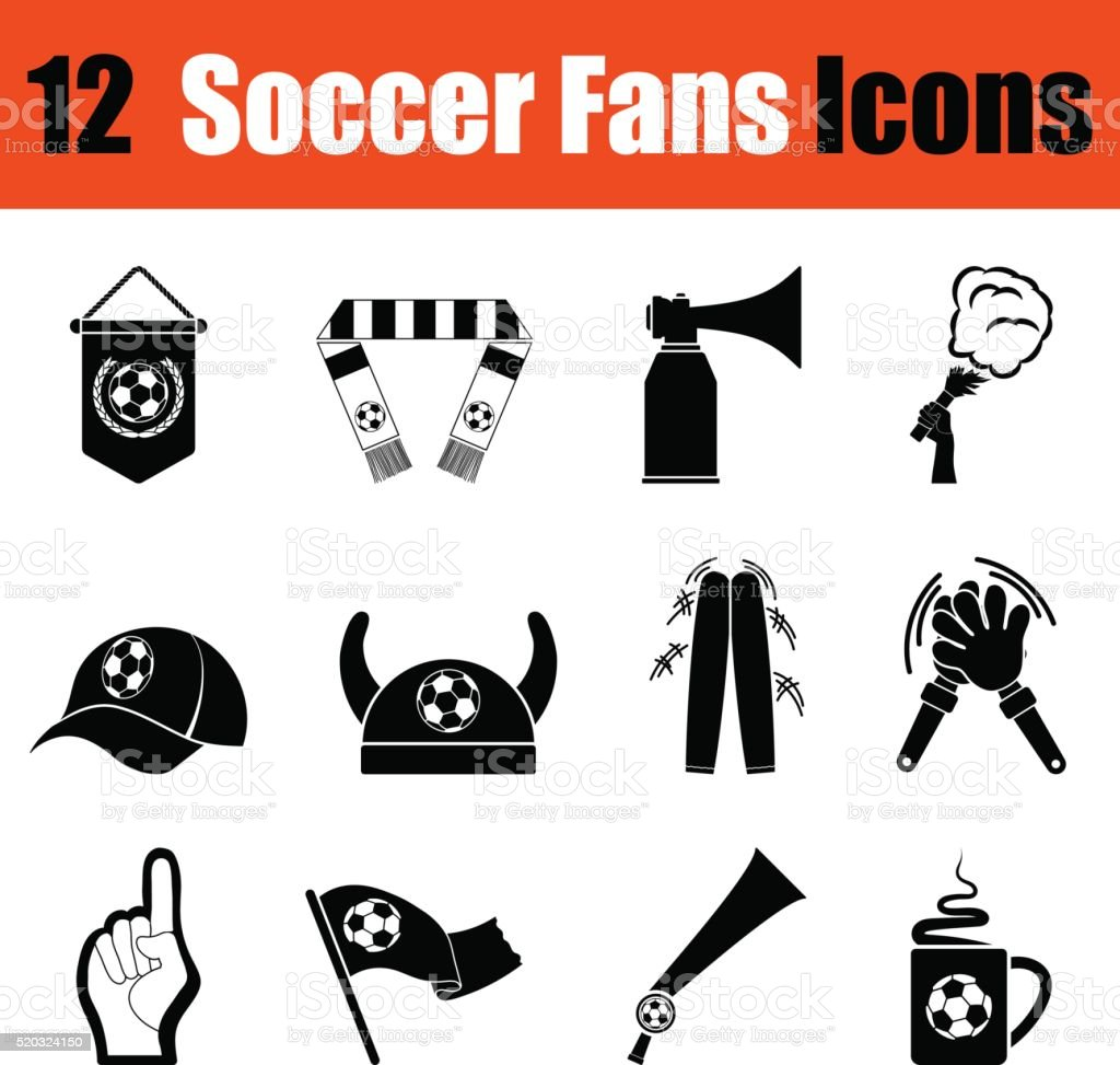 Set of soccer fans icons vector art illustration