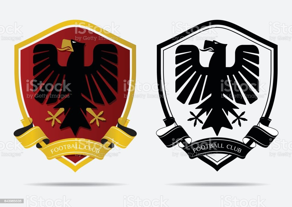 Set of Soccer Football Badge icon Design Template. Sport Team Identity. Minimal design of eagle in golden border on red shield. Football club icon in black and white icon. Vector vector art illustration