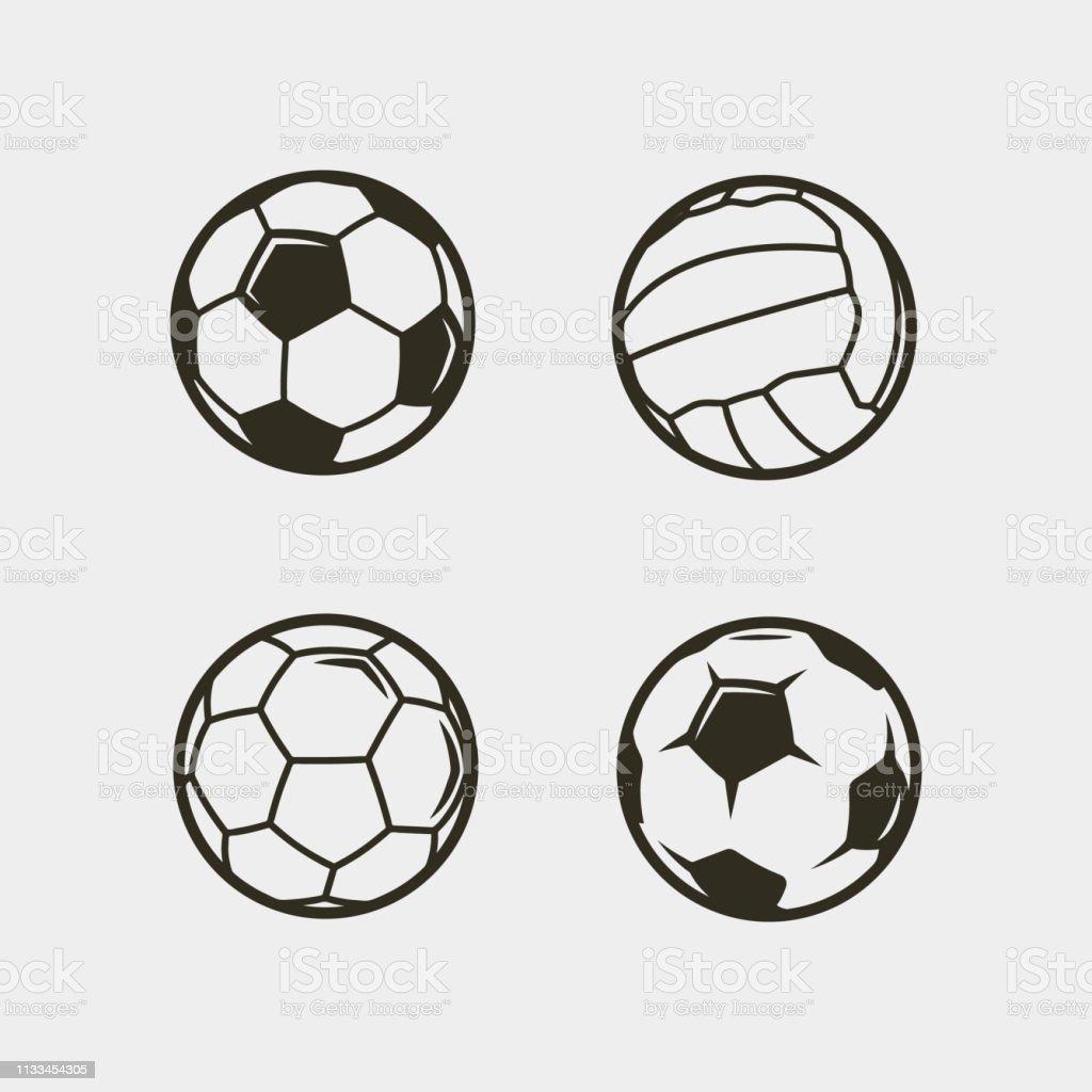 set van voetbal, voetbal ballen. vector illustratie - Royalty-free Activiteit vectorkunst