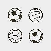 set of soccer, football balls isolated on white background. sport equipment. vector illustration