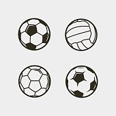 set of soccer, football balls isolated on white background. sport equipment. vector illustration