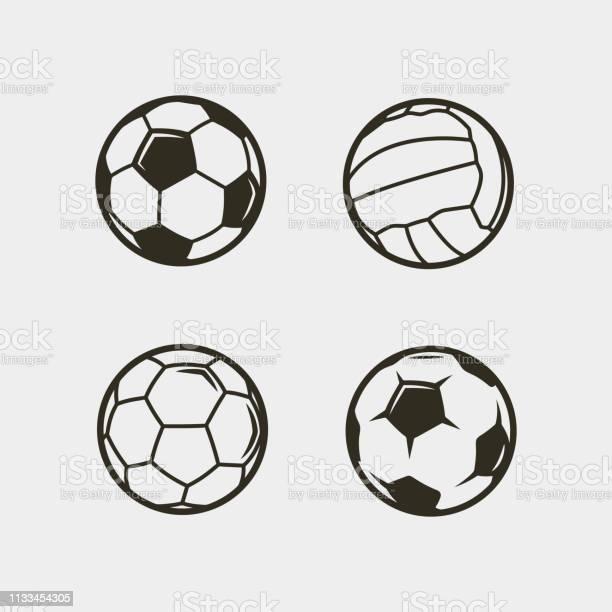 Set Van Voetbal Voetbal Ballen Vector Illustratie Stockvectorkunst en meer beelden van Activiteit
