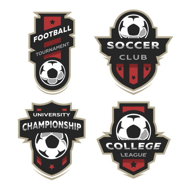 Set of Soccer Football logo, emblem. vector art illustration