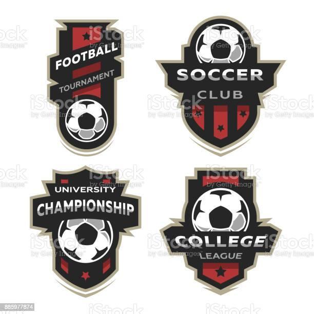 Set Van Voetbal Voetbal Logo Embleem Stockvectorkunst en meer beelden van Badge