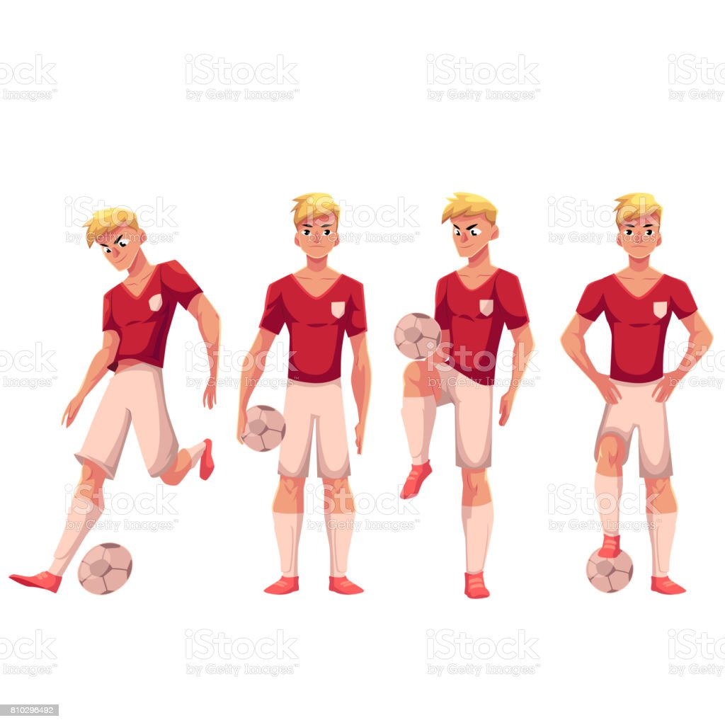 Set of soccer, football player in different positions with ball vector art illustration