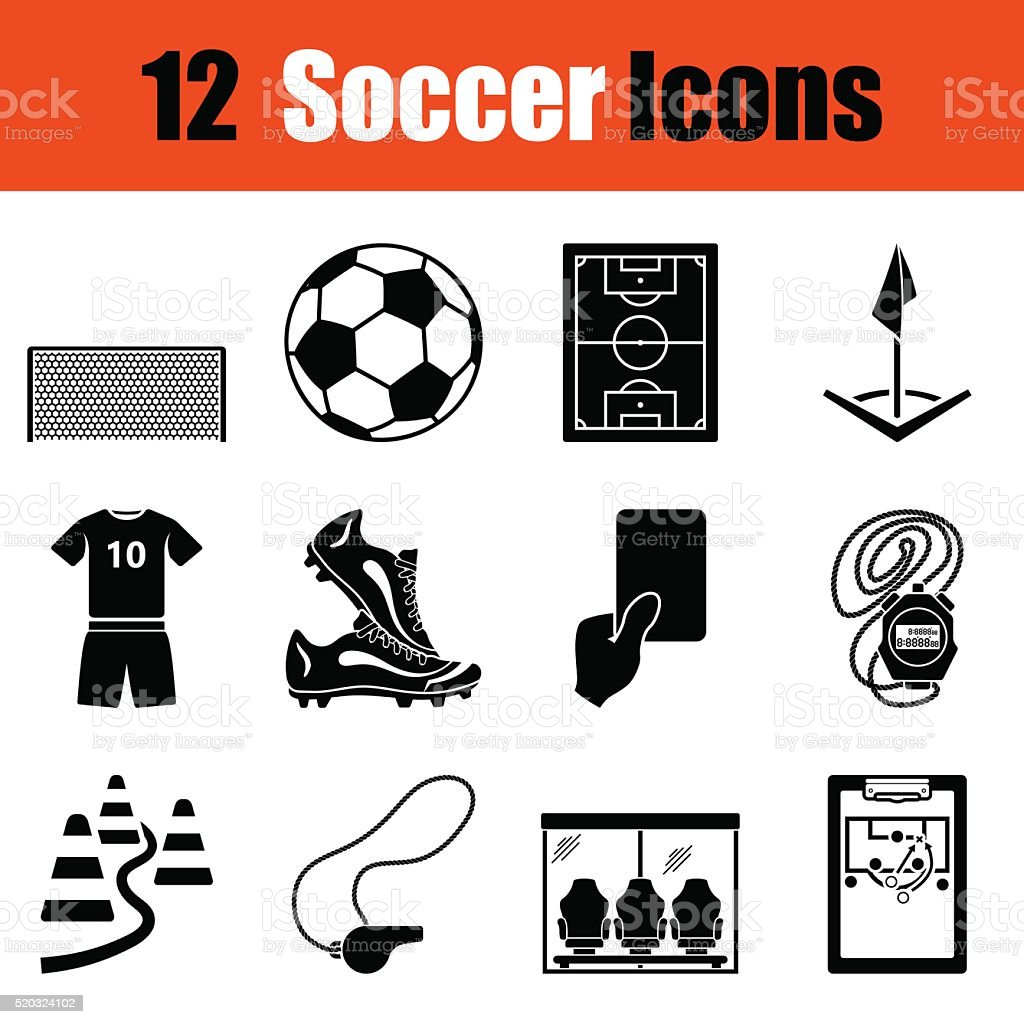 Set of soccer icons vector art illustration
