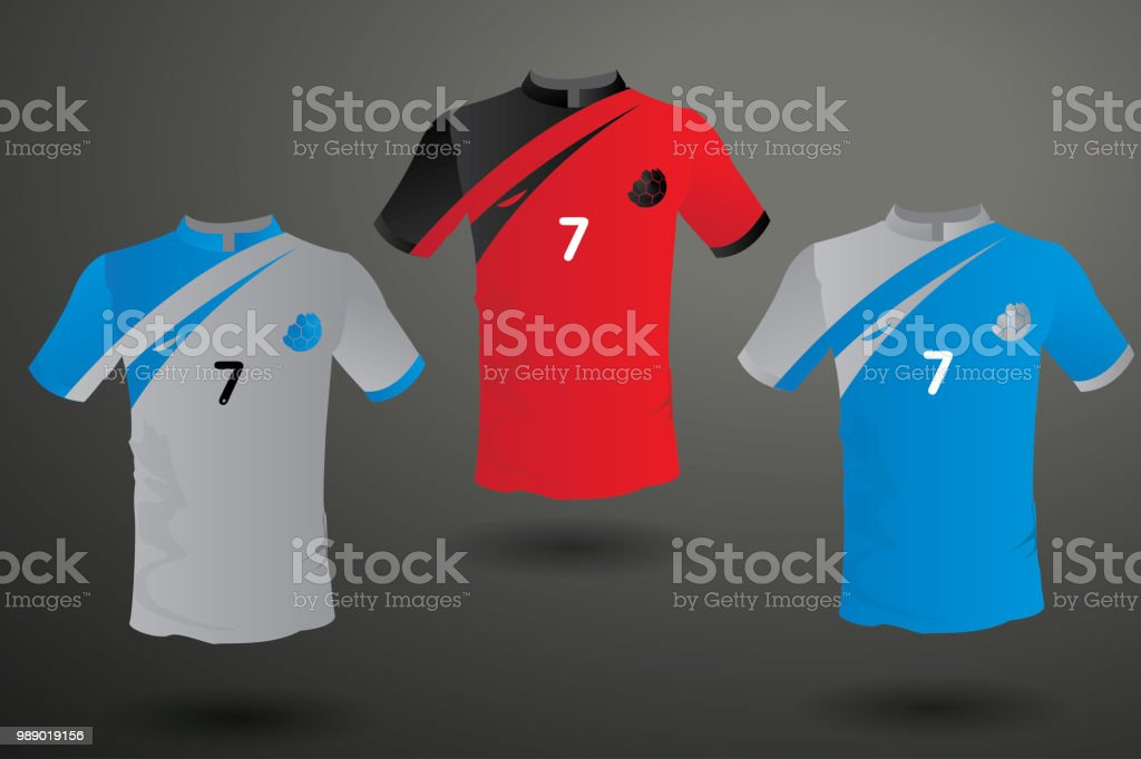 Set of soccer jersey or football kit template for football club. Flat  football symbol on blue label. Front and back view soccer uniform. be7afdeeb