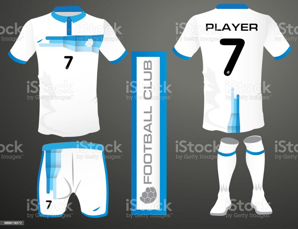 Set Of Soccer Jersey Or Football Kit Template For Club Flat Symbol On