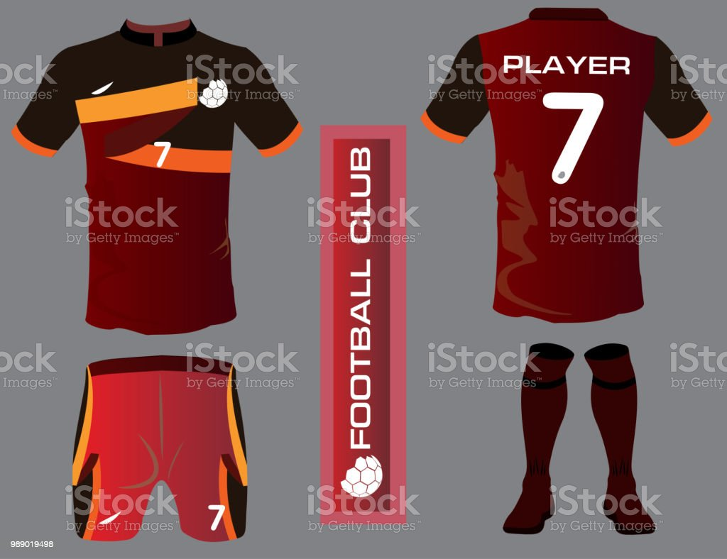Set of soccer jersey or football kit template for football club. Flat  football symbol on f6fe924a4