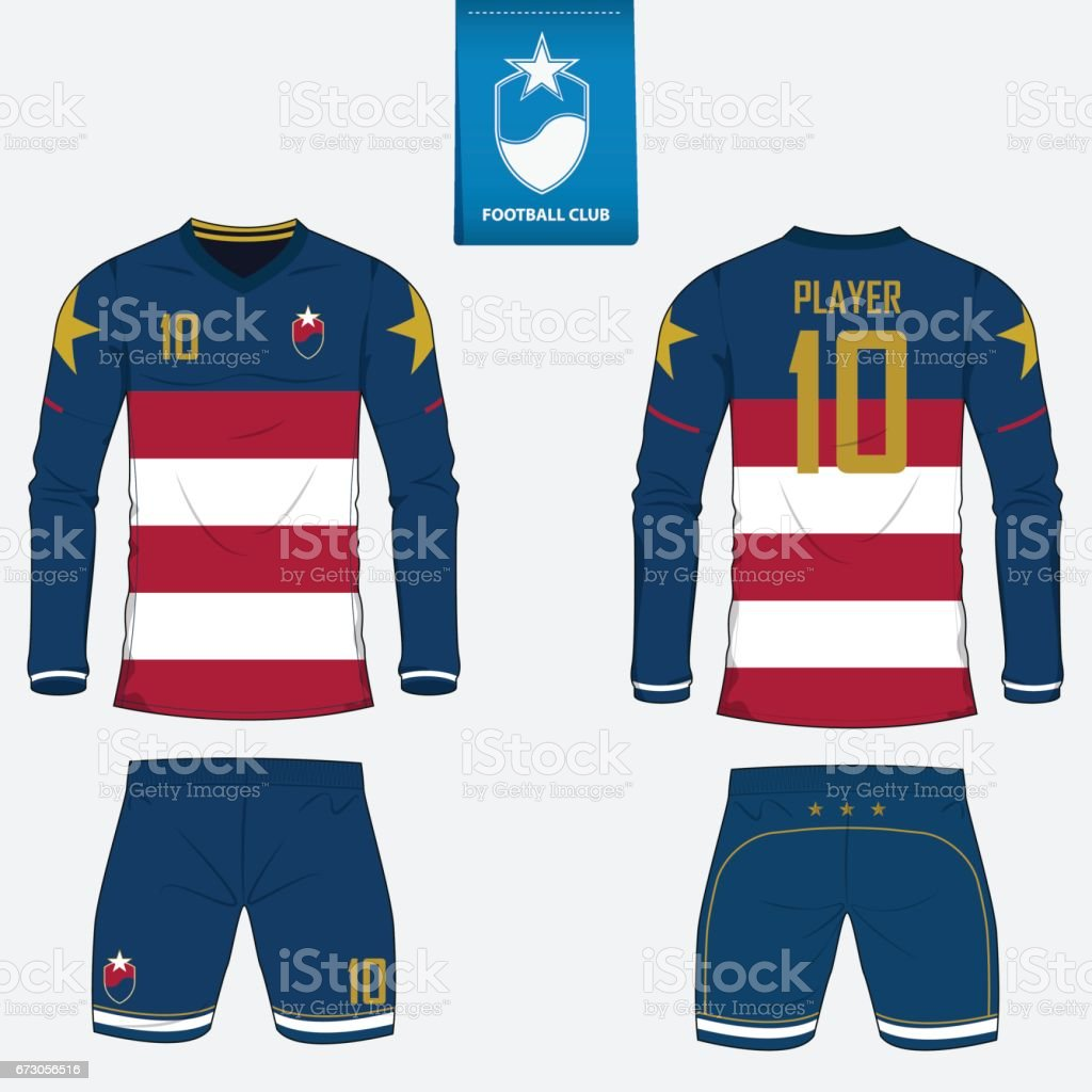 Set Of Soccer Kit Or Football Jersey Template For Club Long Sleeve Shirt
