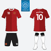 Set of soccer kit or football jersey template. Vector.