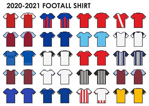 Set of soccer kit or football jersey