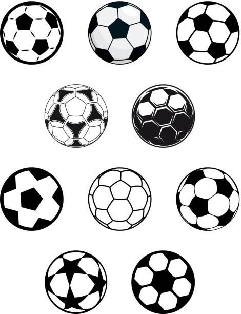 satz von fußball oder fußball-bälle - kopfschüsse stock-grafiken, -clipart, -cartoons und -symbole