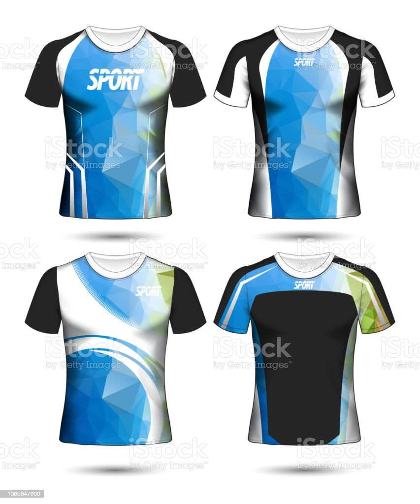 Set Of Soccer Sport Tshirt Layout Design Poly Template And Polo