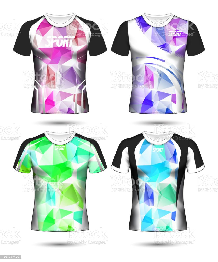 4ea4ca6f5 Set of Soccer sport t-shirt layout design poly template and polo shirt  vector illustration - Illustration .