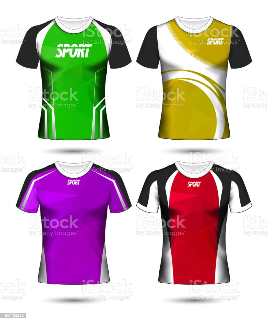 17031c882 Set of Soccer sport t-shirt layout design poly template and polo shirt  vector illustration - Illustration .