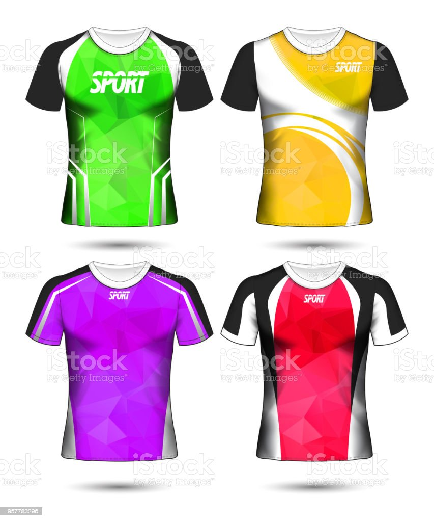 Stock T Shirt Designs | Satz Von Soccer Sport Tshirt Design Poly Layoutvorlage Und