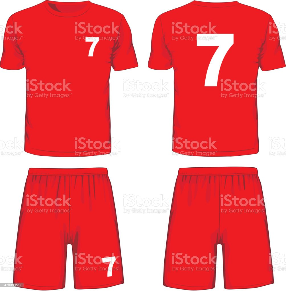 Set of soccer uniform front and back view. Vector vector art illustration
