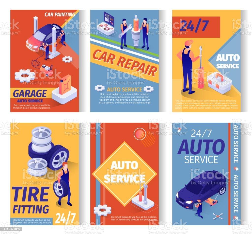 Set of Social Advertisement for Repair Service. Isometric Repairing,...
