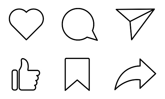 Set of social media icons. Like, share, comment, love, repost and save. Silhouette flat line art symbols