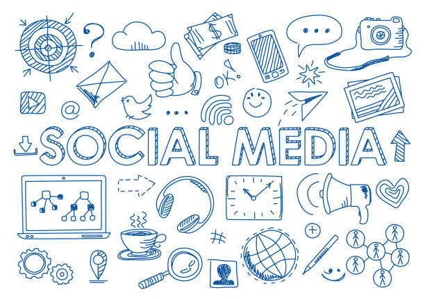 Set of social media in doodle style vector art illustration