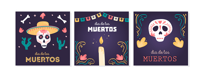 Set of social media post square cards with sugar skulls for Mexican national holiday Day of the dead. Festive banner templates for Dia de los muertos with Calavera Catrina. Vector flat illustration.