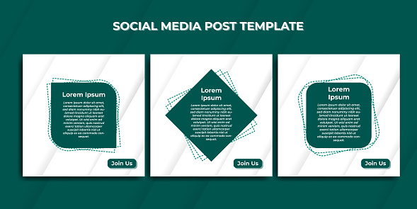 Set of Social Media Post template with green color design