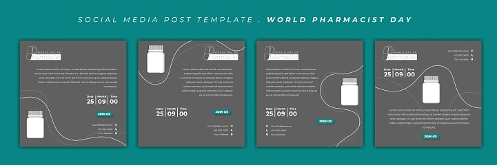 Set of social media post template with medicine bottle design. World Pharmacist Day design