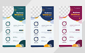 Set of minimalist social media stories post template for Business Webinar, Creative webinar, Online Education and other online seminars. with geometric background