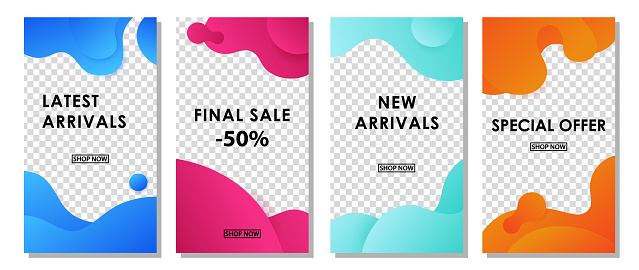 Set of social media stories templates with wavy gradient splashes. Sale vector design.