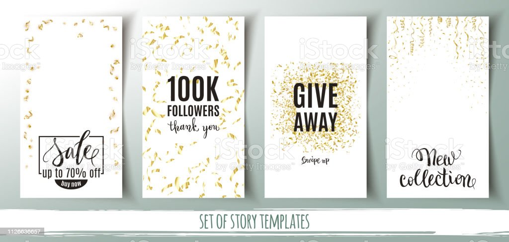 Nieuw Set Of Social Media Story Templates Banners With Gold Confetti ZK-64