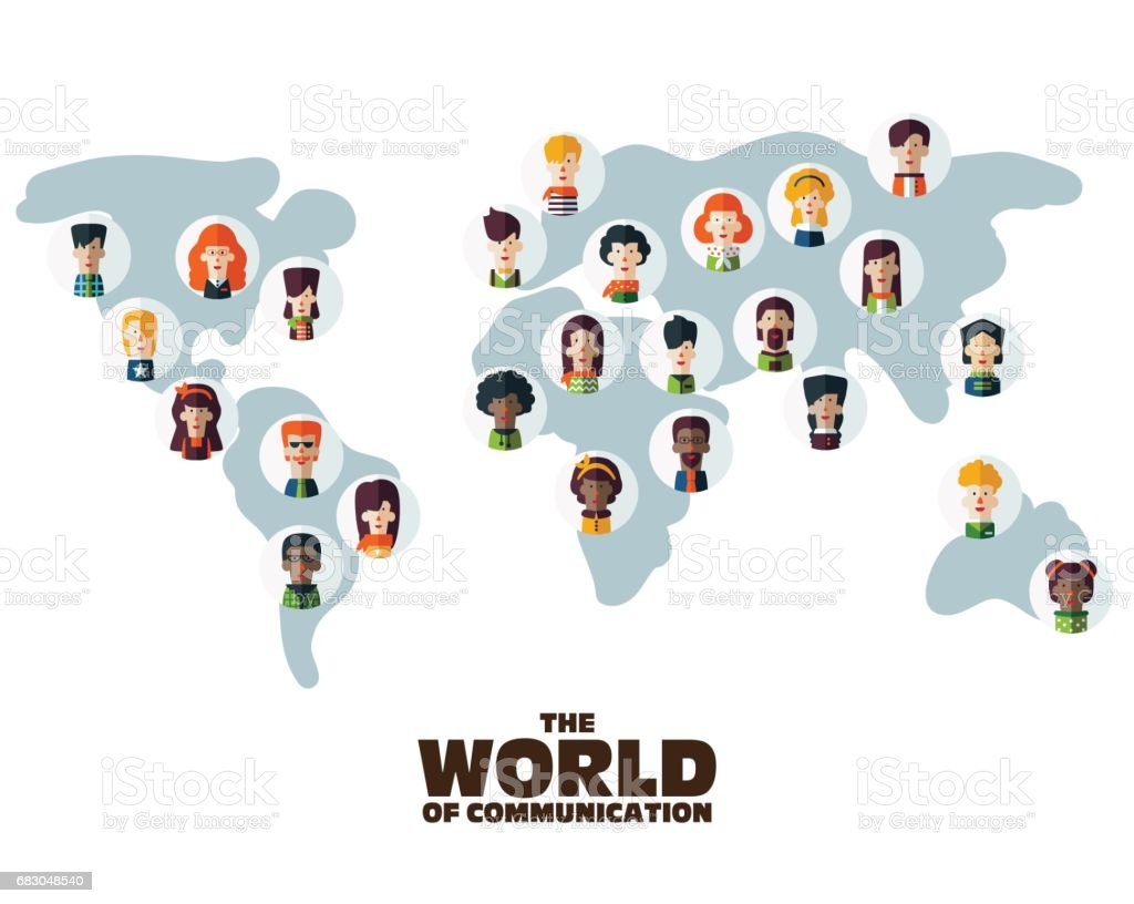 Set of social multi-ethnic people icons on World map set of social multiethnic people icons on world map - arte vetorial de stock e mais imagens de adulto royalty-free