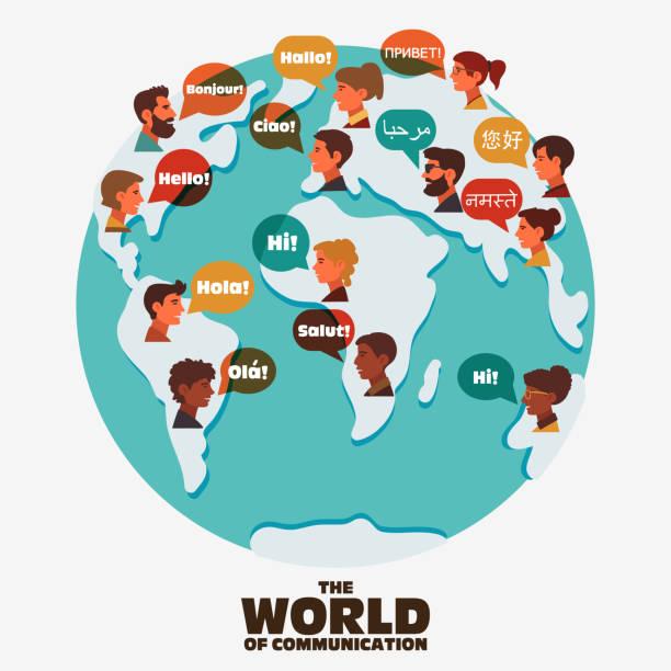 illustrazioni stock, clip art, cartoni animati e icone di tendenza di set of social people on world map with speech bubbles in different languages - lingua