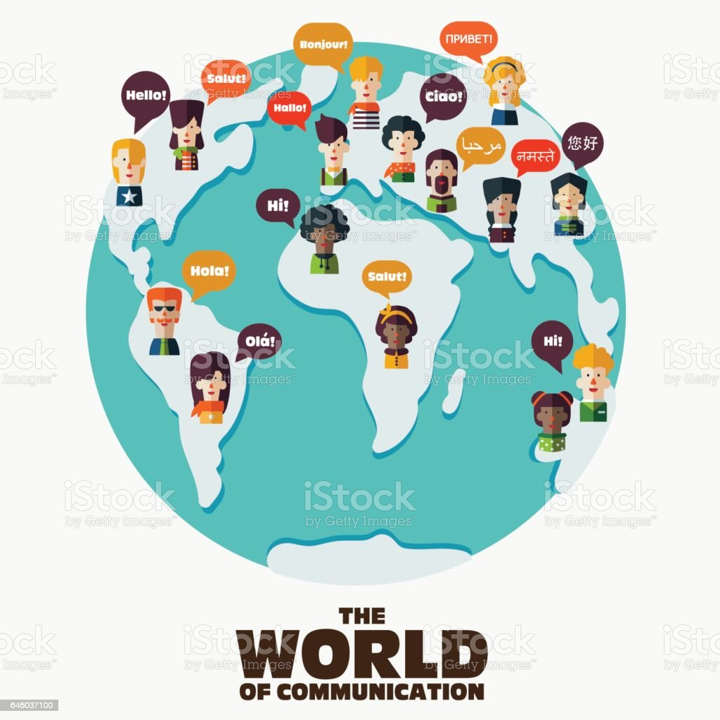 Set of social people with speech bubbles in different languages vector art illustration