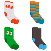 Set of socks in a different pattern. Flat vector illustration isolated on white background