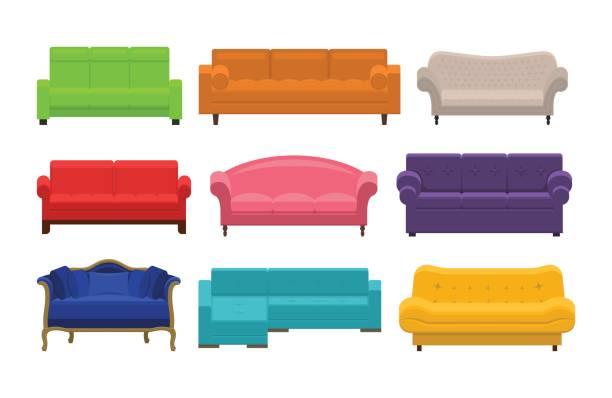 satz von sofa, sofas, sofa - couch stock-grafiken, -clipart, -cartoons und -symbole