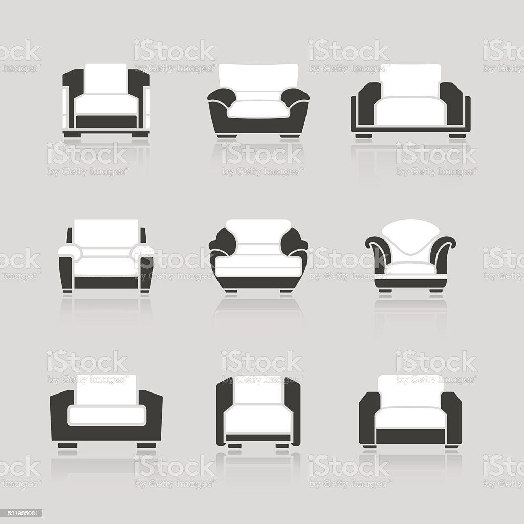 Satz Von Sofas Und Sessel Vektor Illustration 531985081   iStock