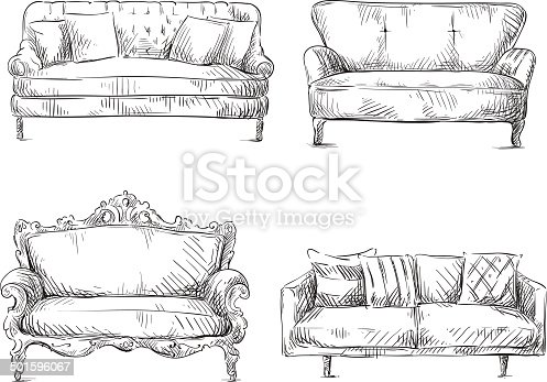 Set Of Sofas Drawings Sketch Style Vector Illustration