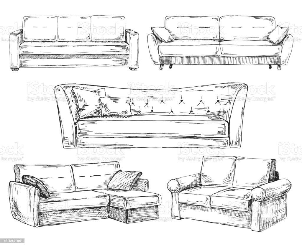 Reihe von sofas die isoliert auf wei em hintergrund for Sofa zeichnen