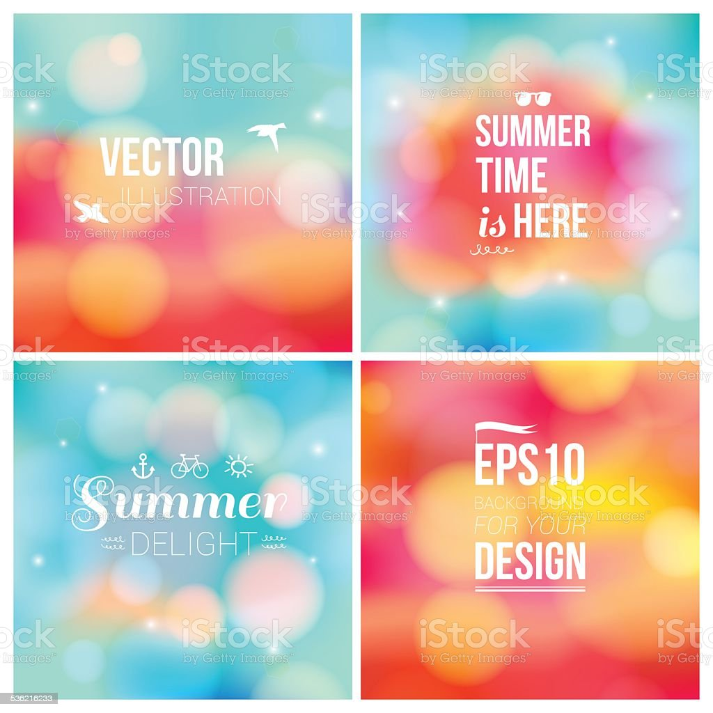 Set of soft blurry backgrounds with bokeh effect vector art illustration