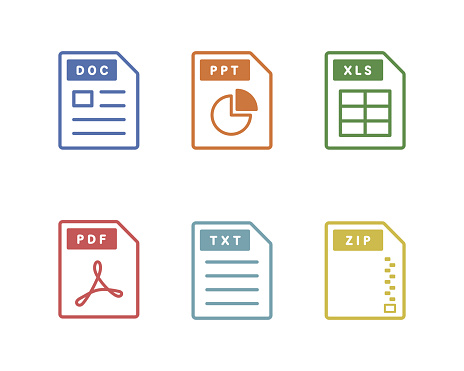 Set of software file simple icons