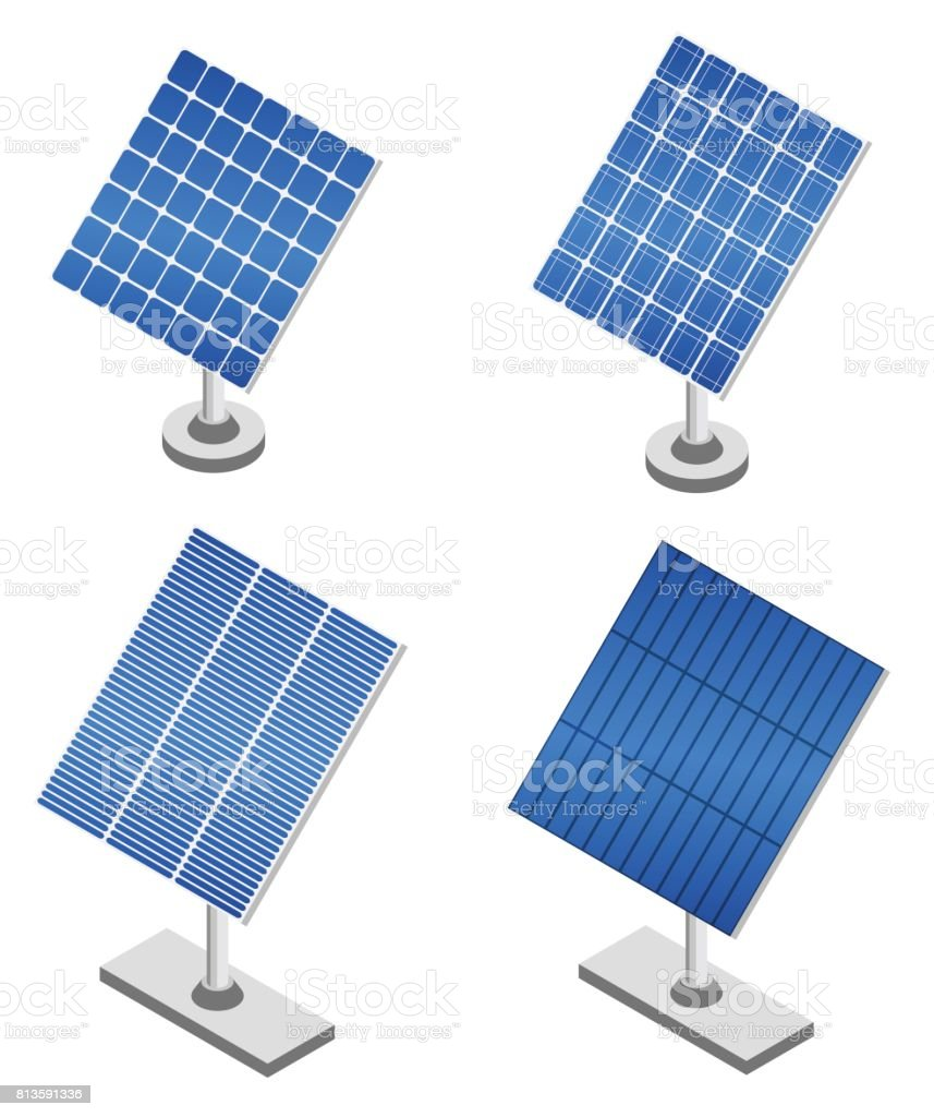 Set of solar panels in isometric projection. vector art illustration