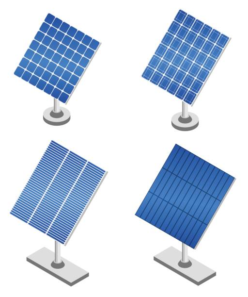 set of solar panels in isometric projection. - solar panels stock illustrations