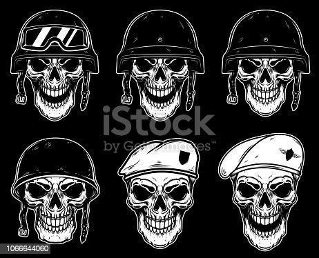 istock Set of soldier skull in battle helmet and paratrooper beret. Design element for label, emblem, sign, poster, t shirt. 1066644060